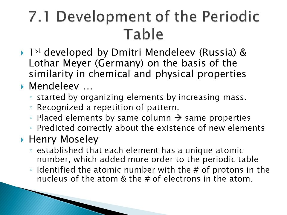 7.1 Development of the Periodic Table