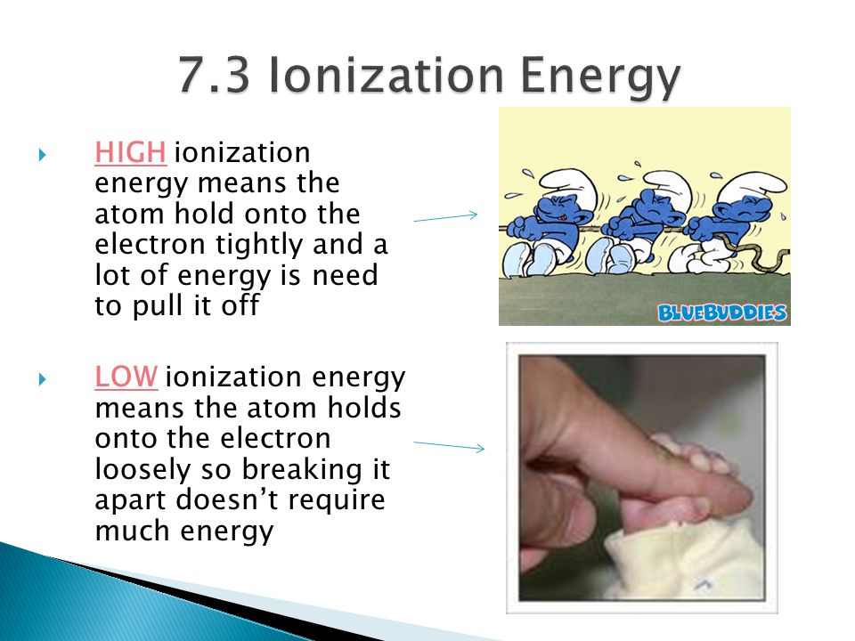 7.3 Ionization Energy HIGH ionization energy means the atom hold onto the electron tightly and a lot of energy is need to pull it off.