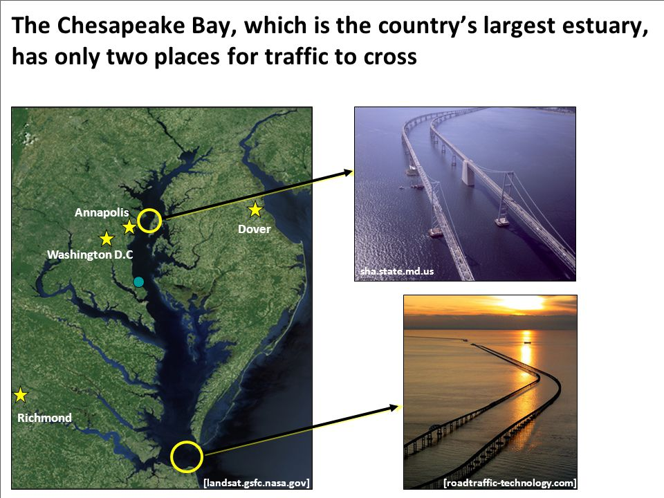The Chesapeake Bay, which is the country's largest estuary, has only two places for traffic to cross