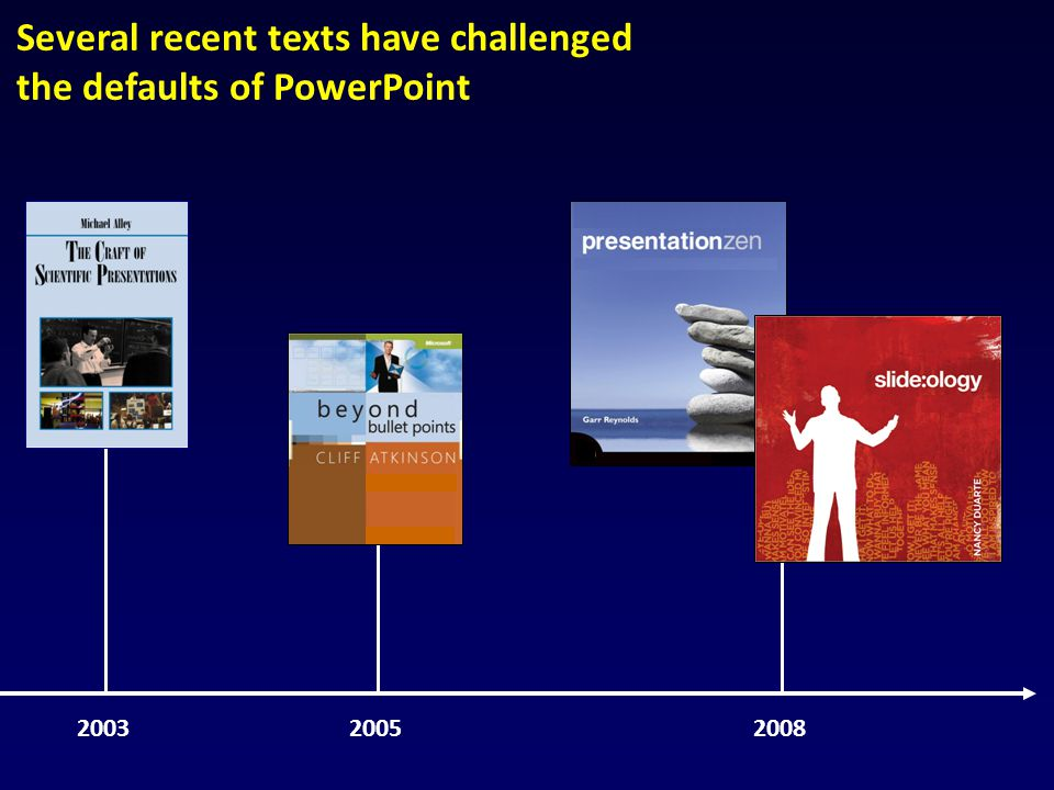 Several recent texts have challenged the defaults of PowerPoint