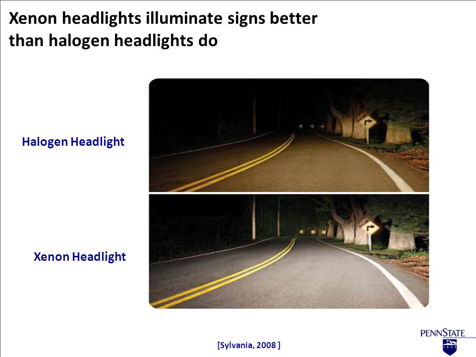 Xenon headlights illuminate signs better than halogen headlights do