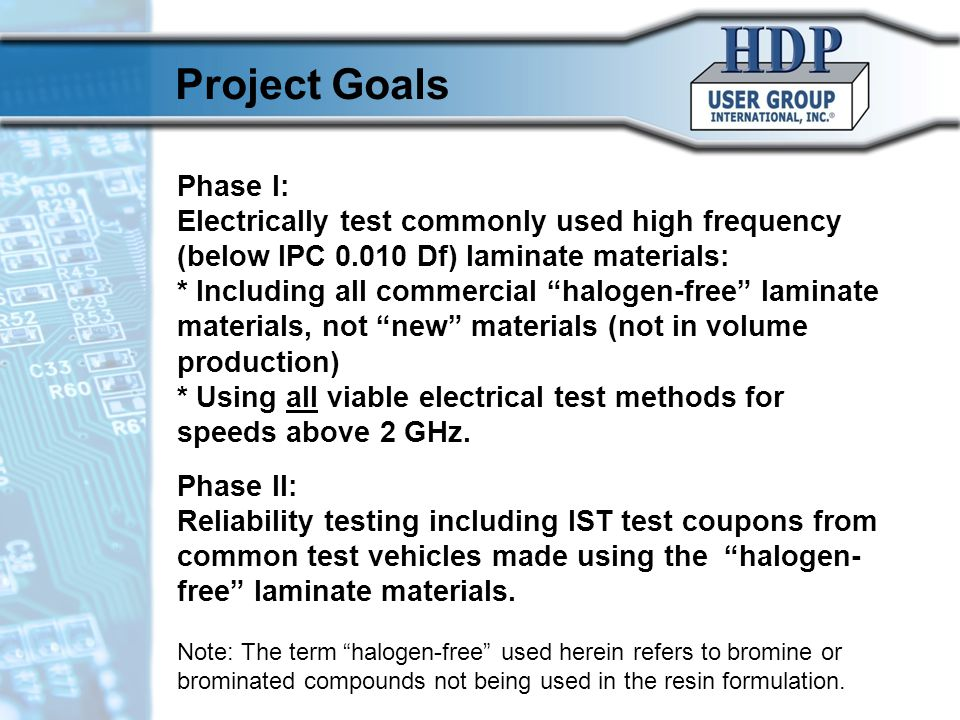 10/17/10 Project Goals. Phase I: Electrically test commonly used high frequency (below IPC 0.010 Df) laminate materials: