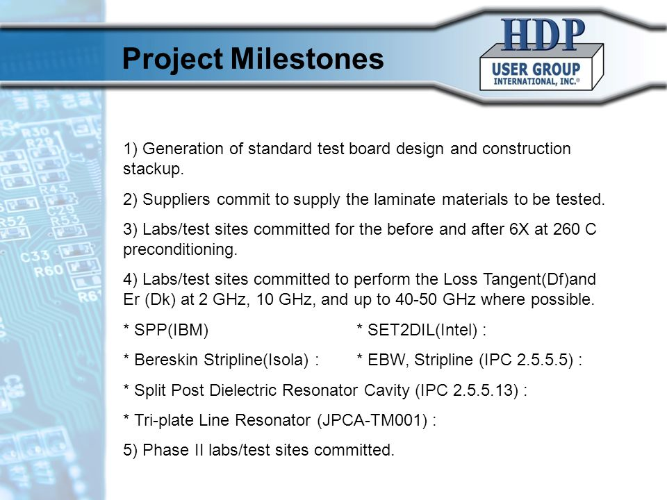 10/17/10 Project Milestones. 1) Generation of standard test board design and construction stackup.