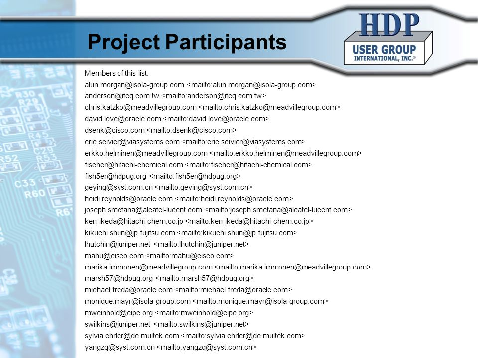 Project Participants 10/17/10 ©HDP User Group International, Inc. 7