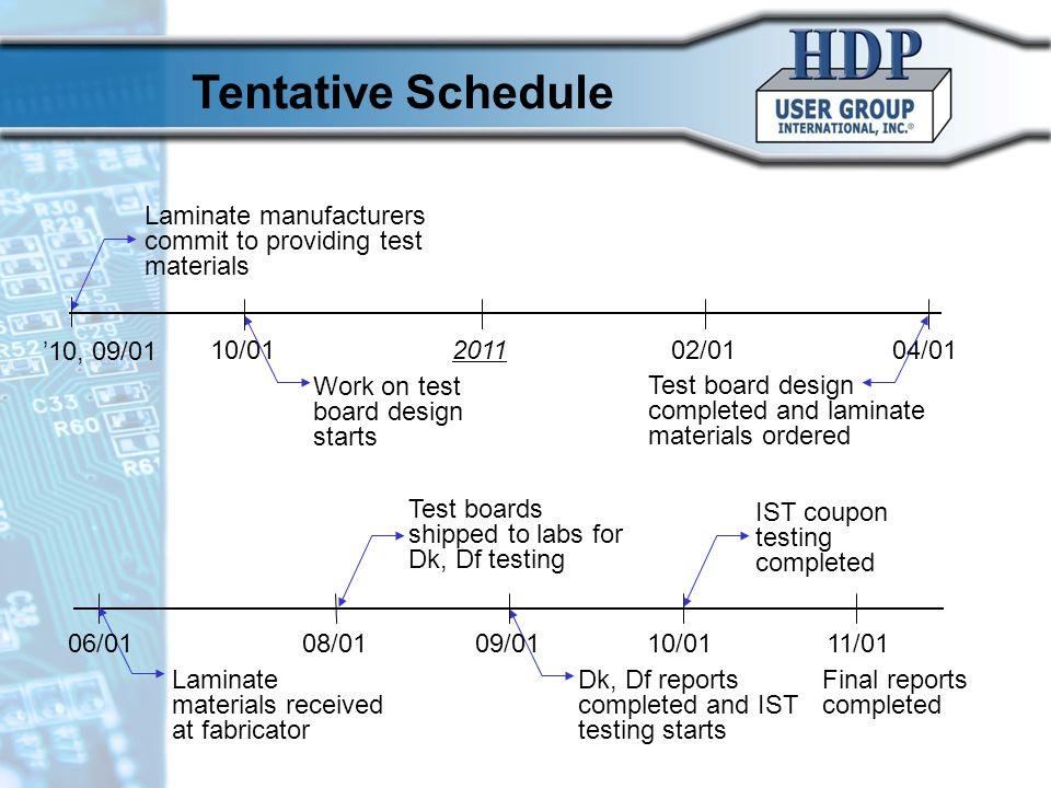10/17/10 Tentative Schedule. Laminate manufacturers commit to providing test materials. '10, 09/01.