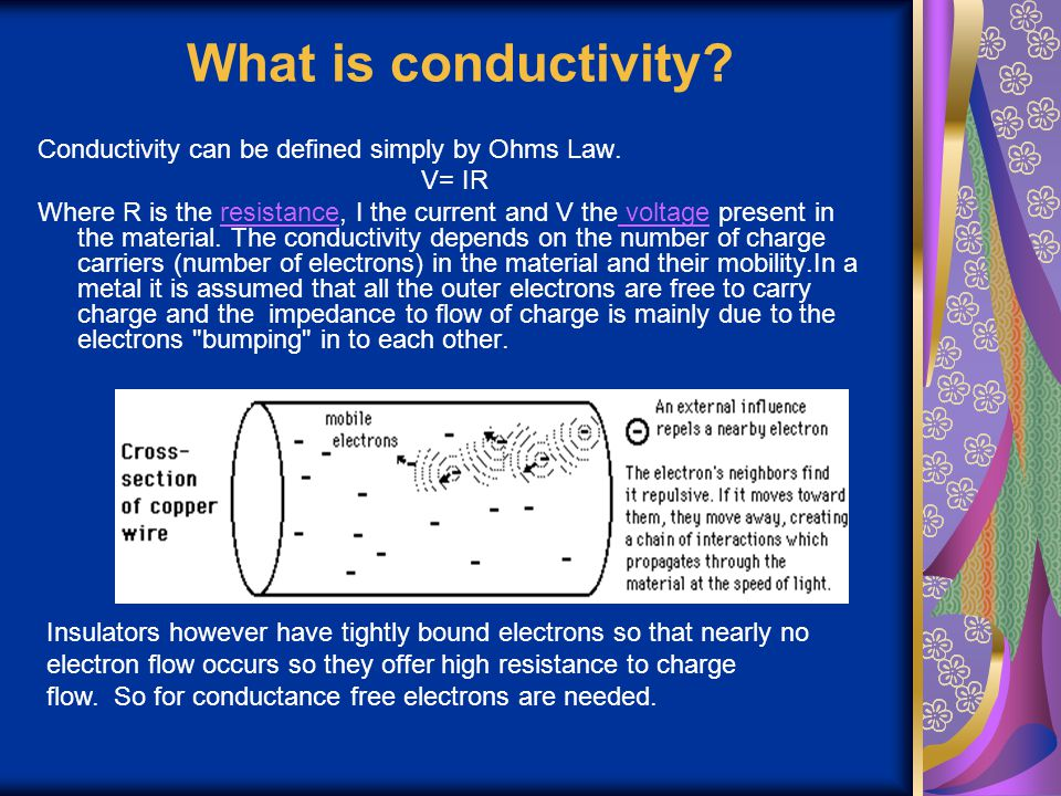 What is conductivity Conductivity can be defined simply by Ohms Law.