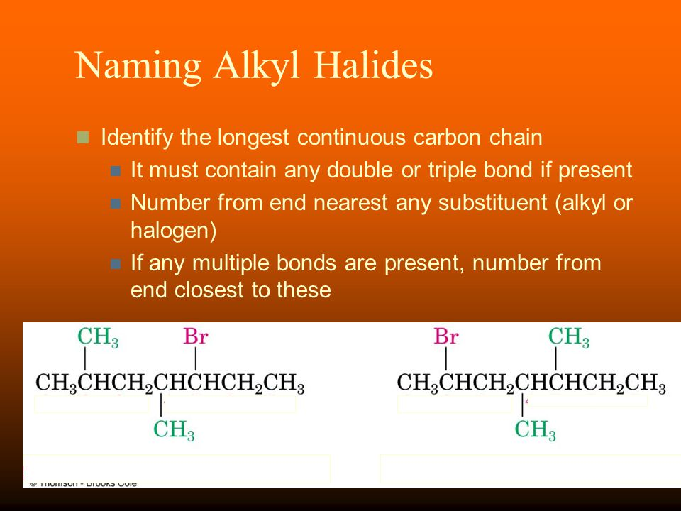 Naming Alkyl Halides Identify the longest continuous carbon chain