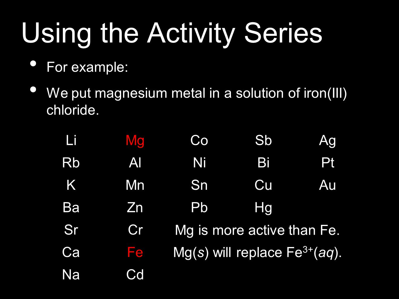 Using the Activity Series