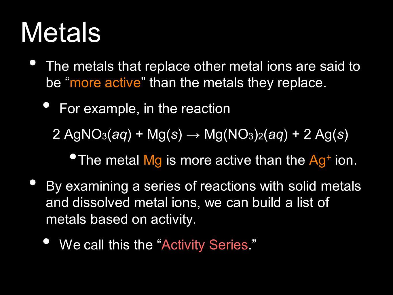 2 AgNO3(aq) + Mg(s) → Mg(NO3)2(aq) + 2 Ag(s)