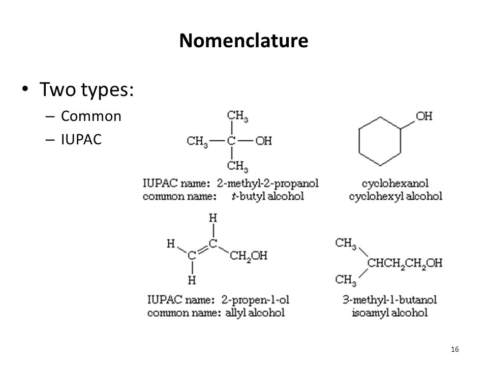 Nomenclature Two types: Common IUPAC