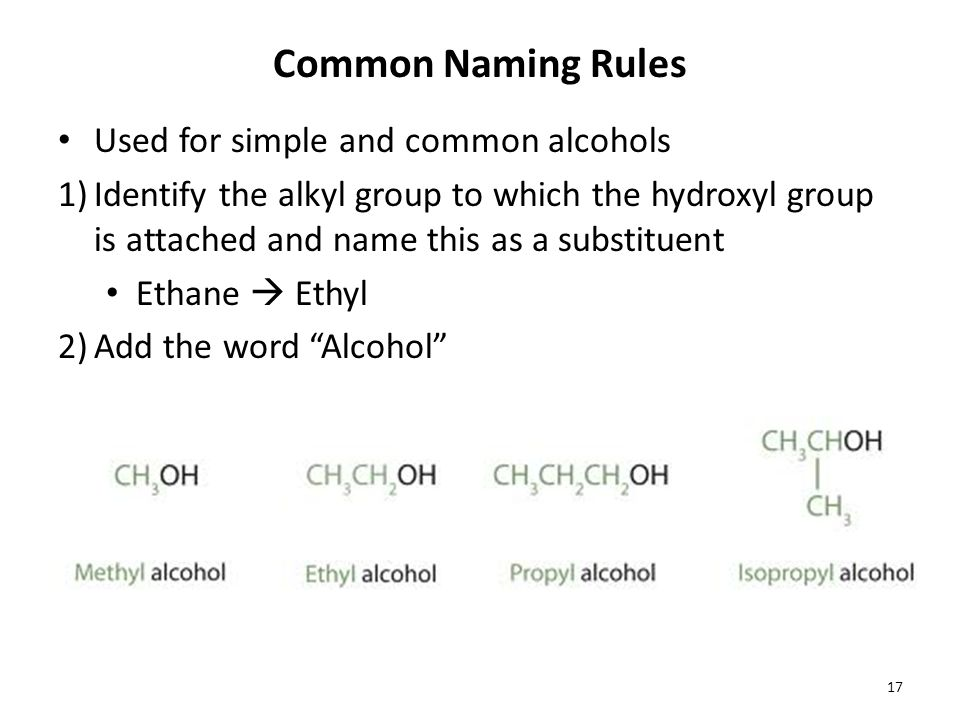 Common Naming Rules Used for simple and common alcohols