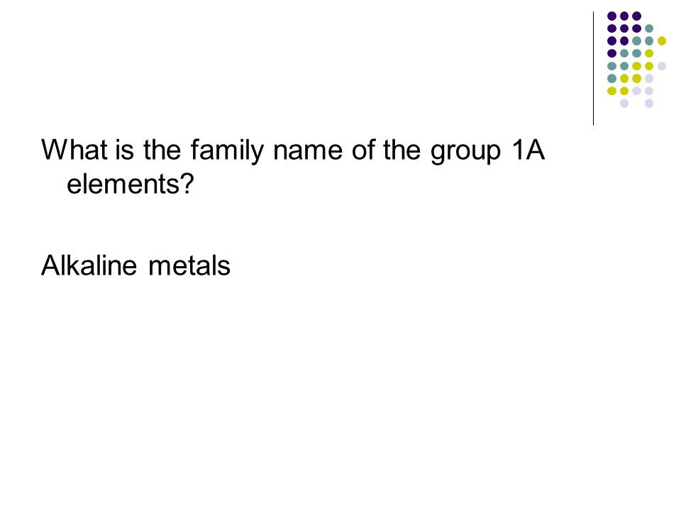 What is the family name of the group 1A elements