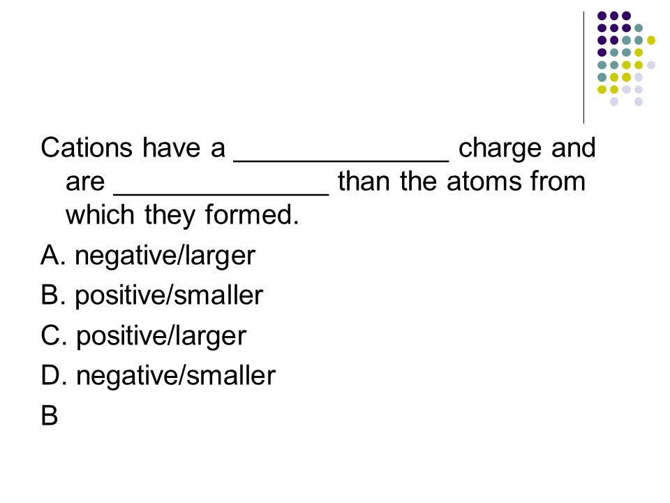 Cations have a ______________ charge and are ______________ than the atoms from which they formed.
