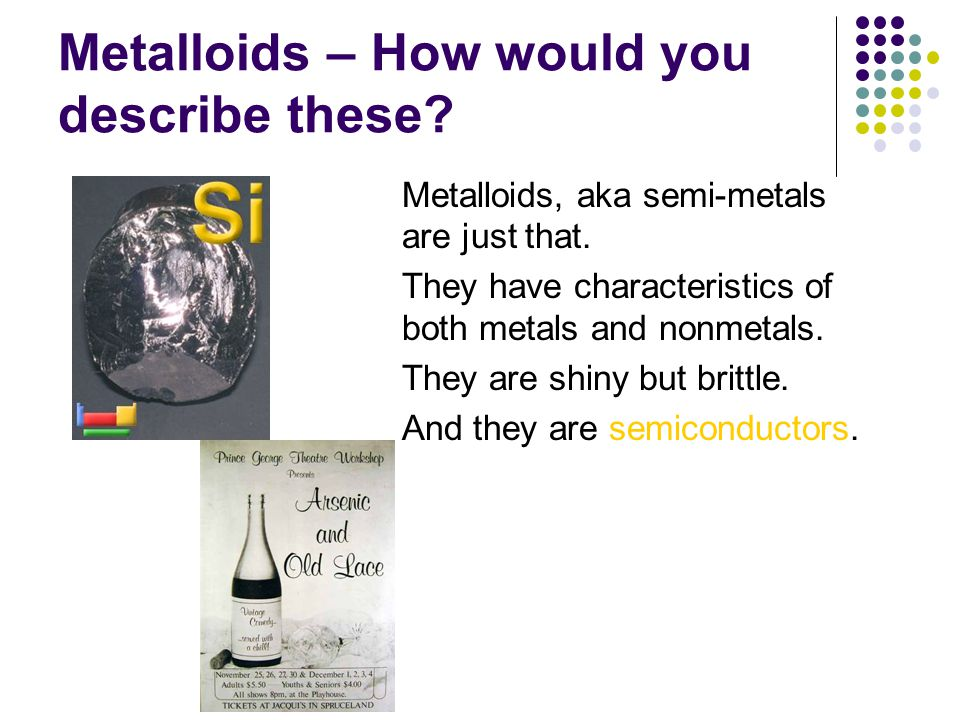 Metalloids – How would you describe these