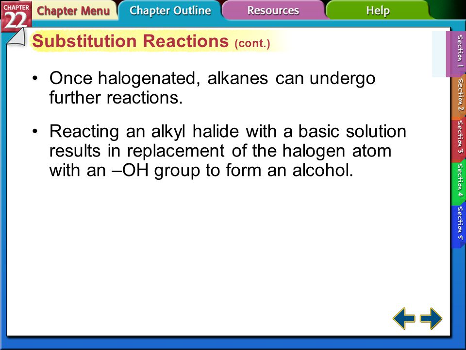 Substitution Reactions (cont.)