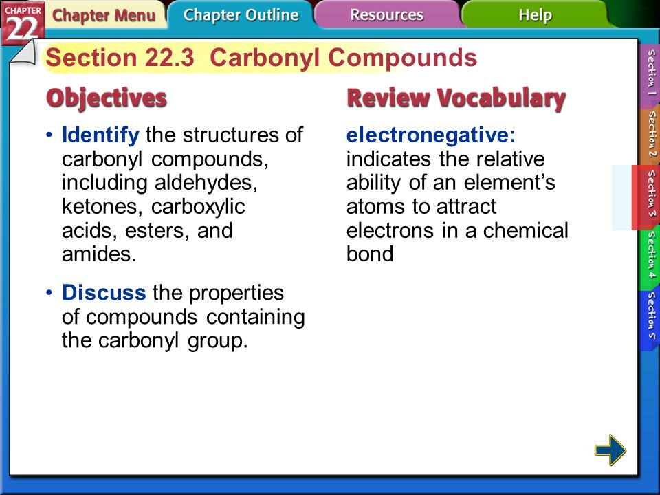 Section 22.3 Carbonyl Compounds