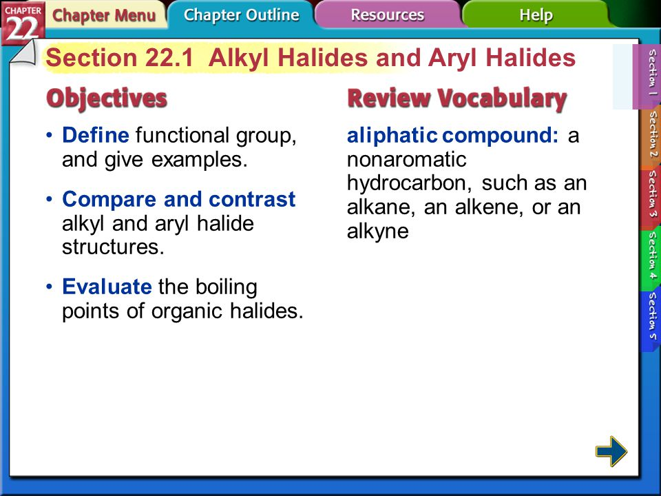 Section 22.1 Alkyl Halides and Aryl Halides