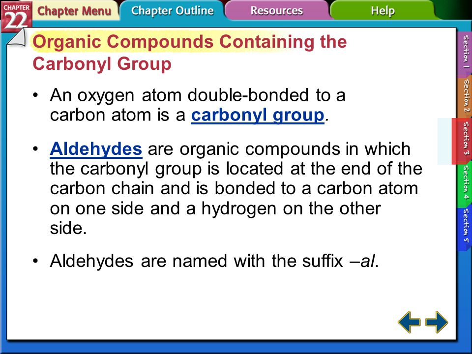 Organic Compounds Containing the Carbonyl Group