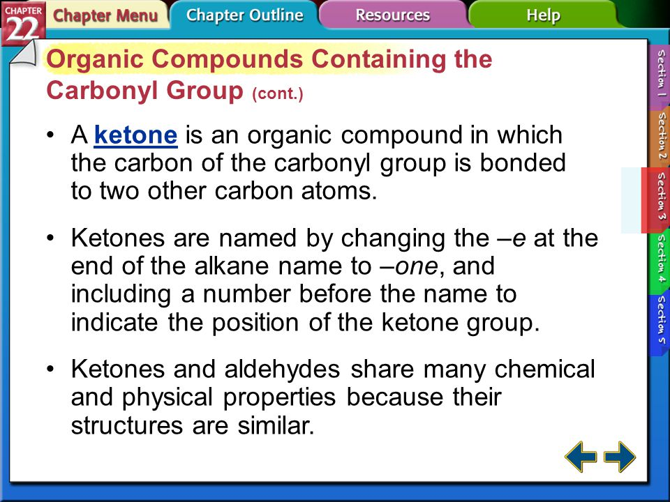 Organic Compounds Containing the Carbonyl Group (cont.)