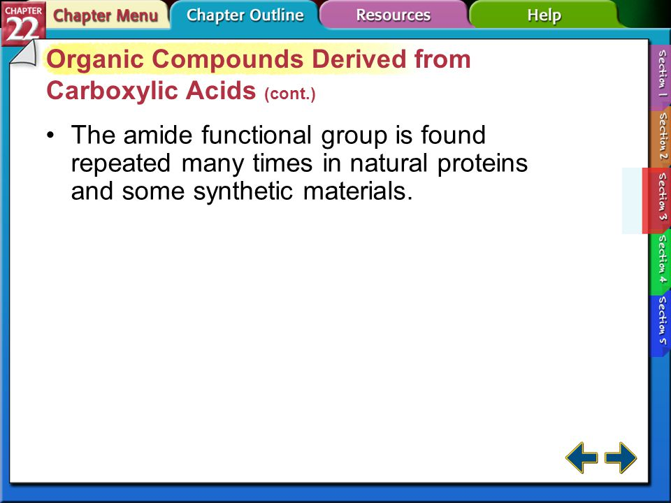 Organic Compounds Derived from Carboxylic Acids (cont.)