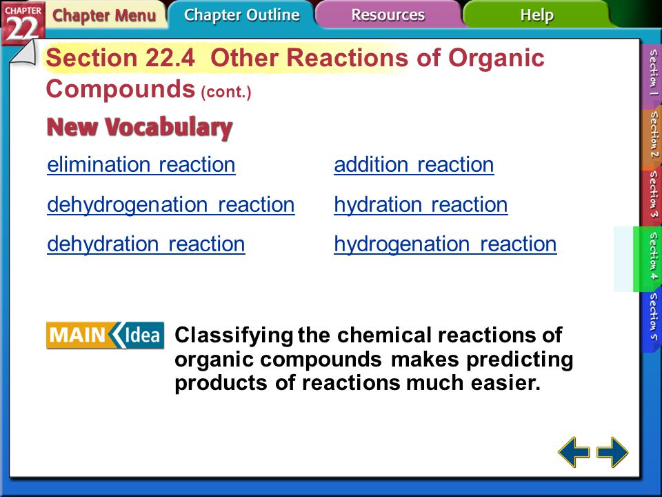 Section 22.4 Other Reactions of Organic Compounds (cont.)