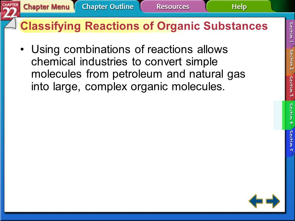 Classifying Reactions of Organic Substances