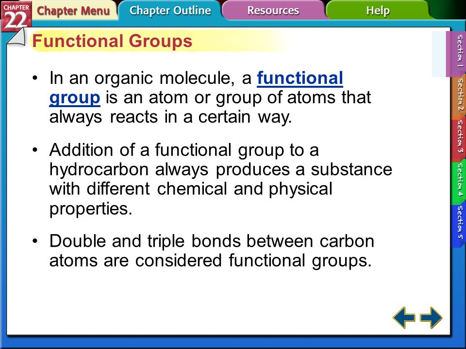 Functional Groups In an organic molecule, a functional group is an atom or group of atoms that always reacts in a certain way.