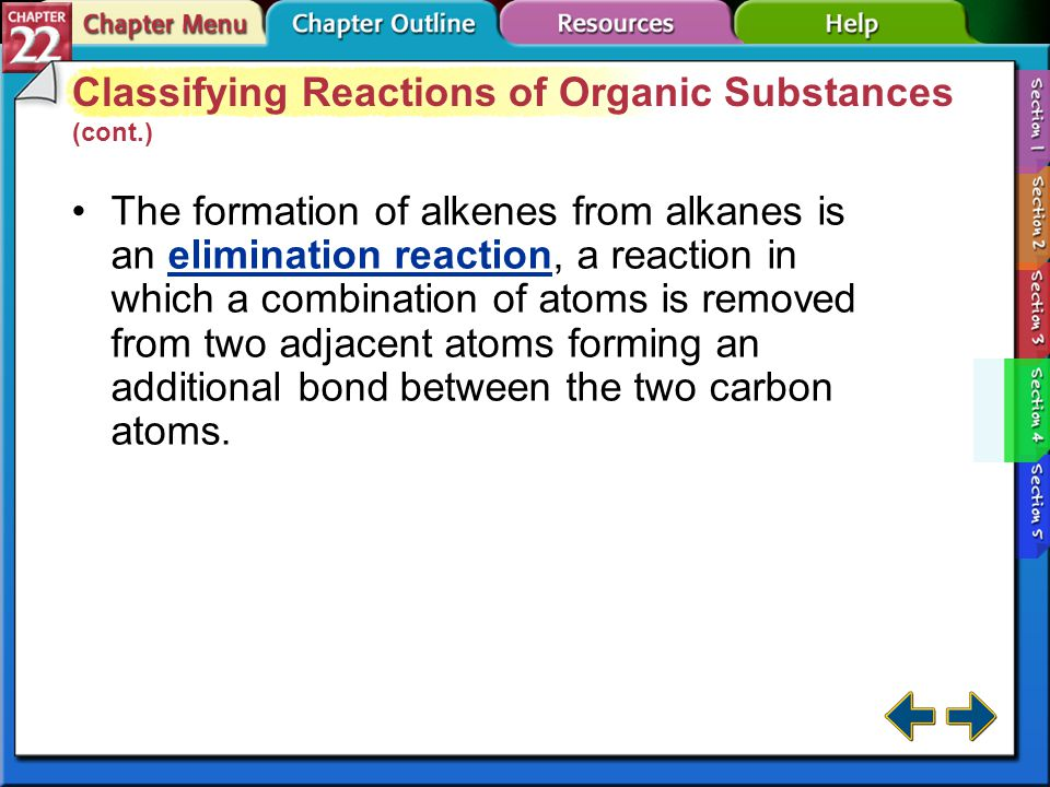 Classifying Reactions of Organic Substances (cont.)