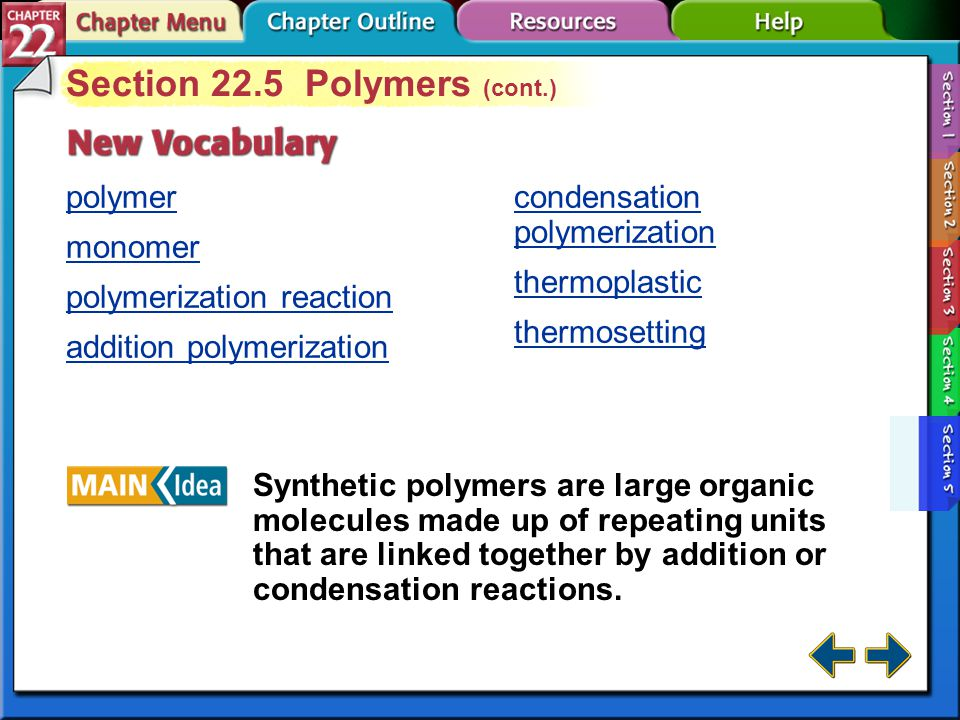 Section 22.5 Polymers (cont.)