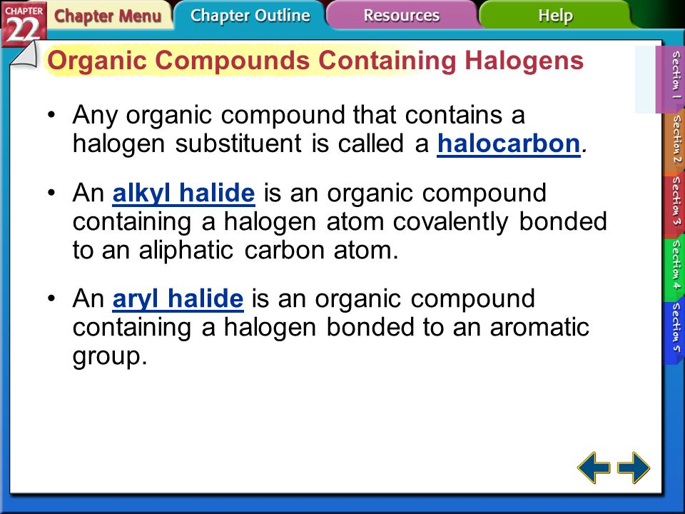 Organic Compounds Containing Halogens