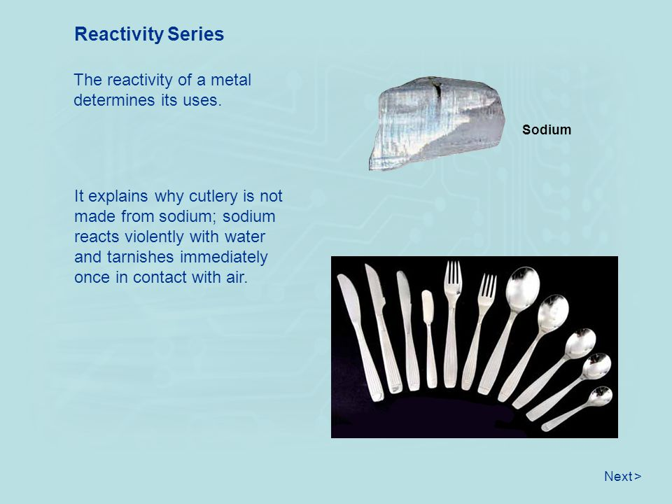 Reactivity Series The reactivity of a metal determines its uses.