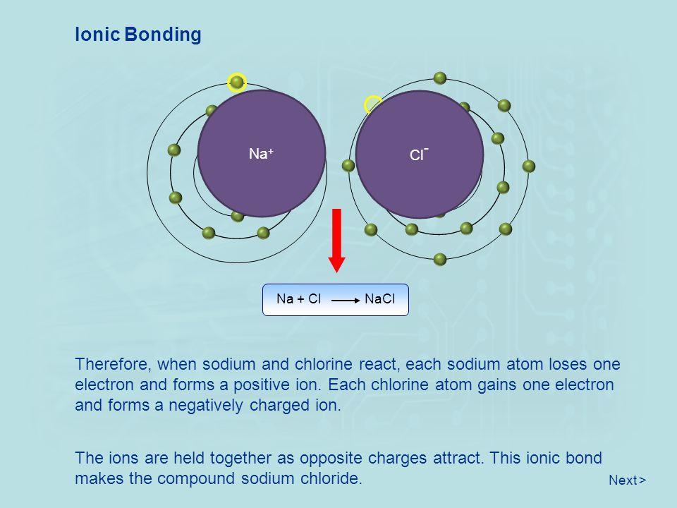 Ionic Bonding Na. Na+ Cl- Cl. + - Na + Cl NaCl.