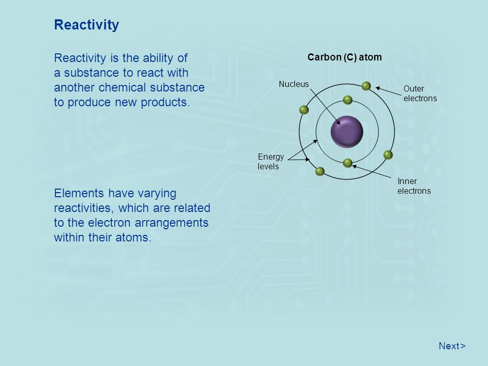 Reactivity Reactivity is the ability of a substance to react with another chemical substance to produce new products.