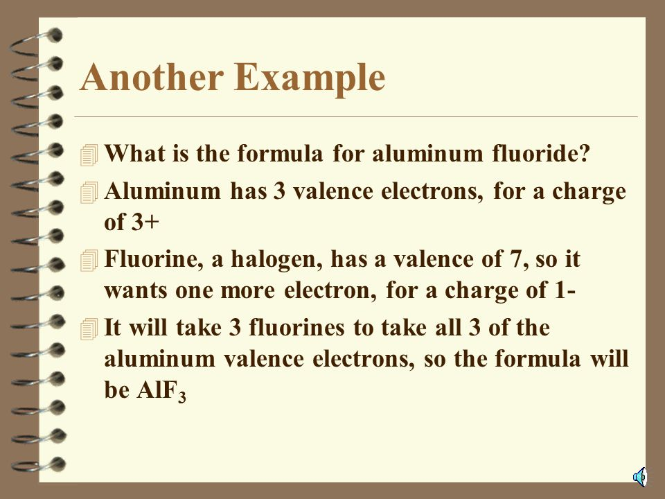Another Example What is the formula for aluminum fluoride