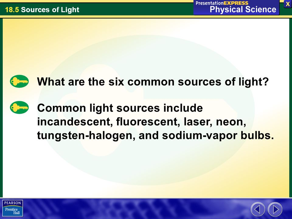 What are the six common sources of light