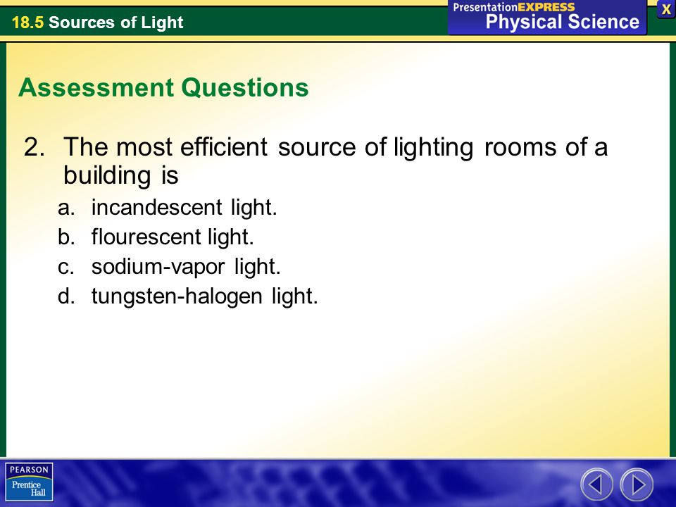 The most efficient source of lighting rooms of a building is