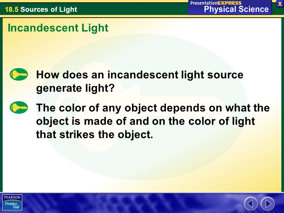 Incandescent Light How does an incandescent light source generate light