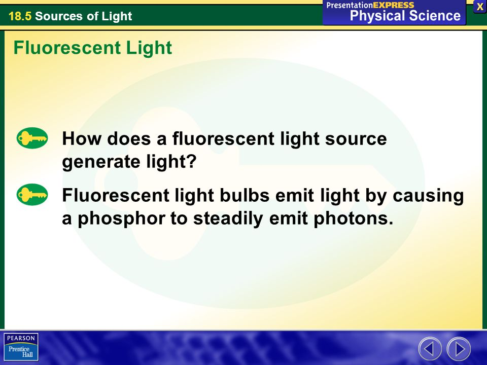 Fluorescent Light How does a fluorescent light source generate light
