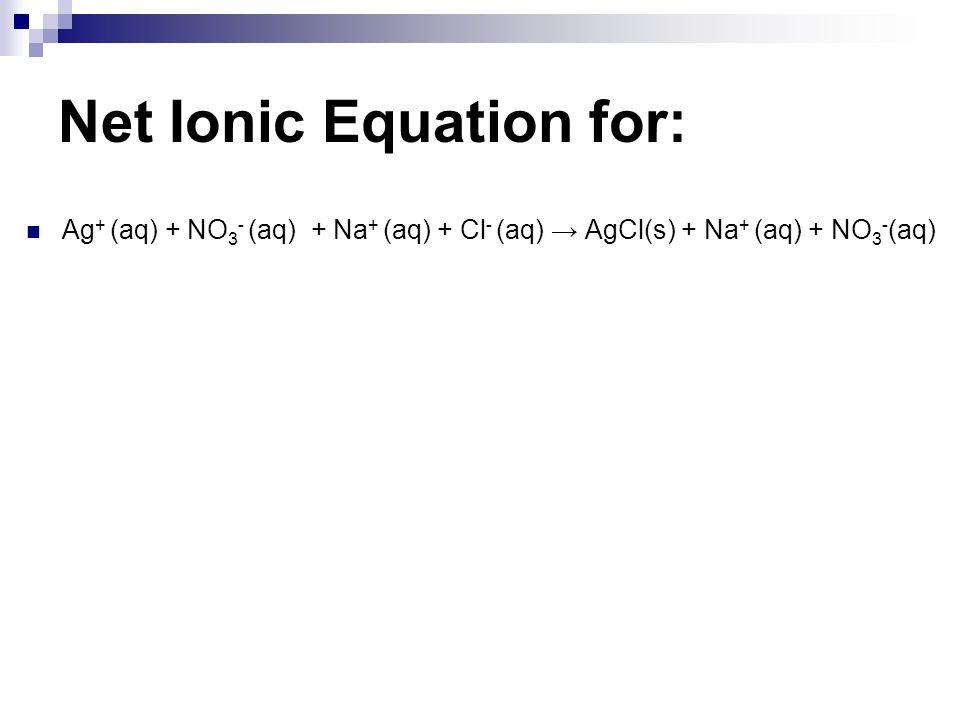 Net Ionic Equation for: