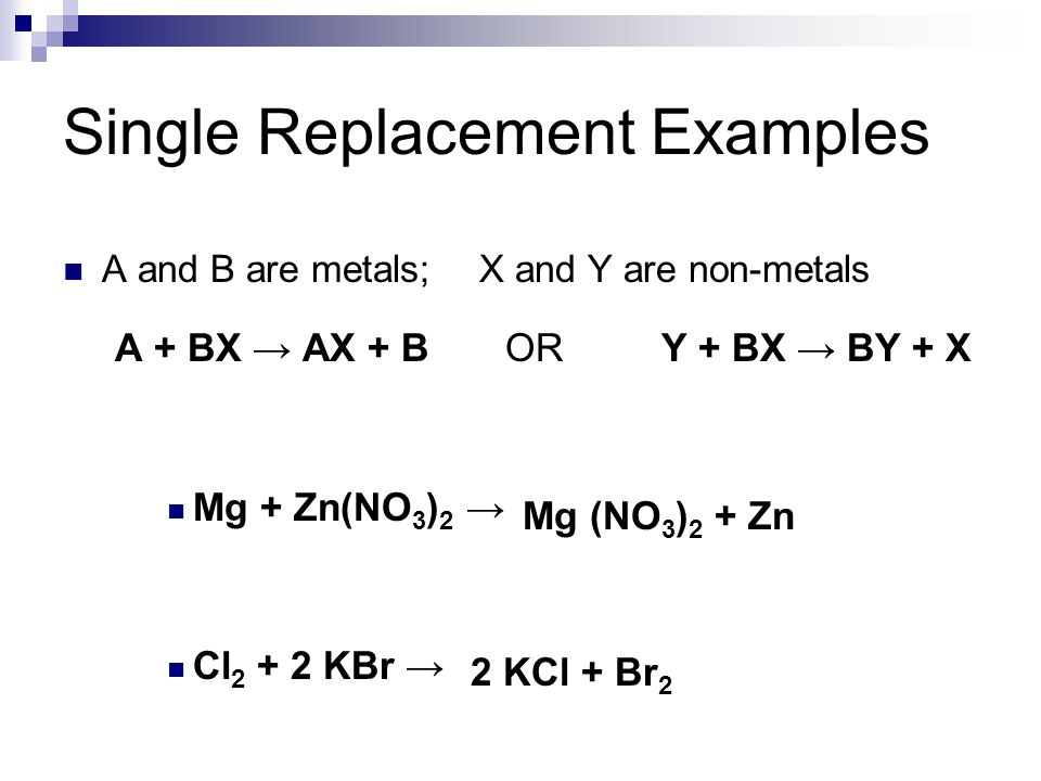 Single Replacement Examples