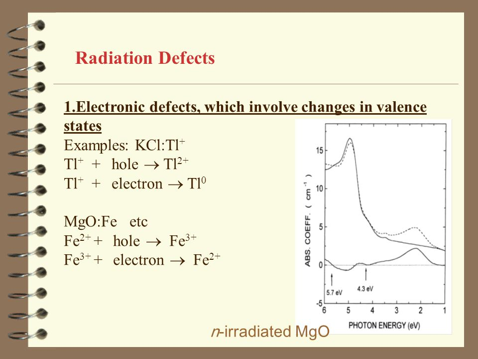 Radiation Defects 1.Electronic defects, which involve changes in valence states. Examples: KCl:Tl+