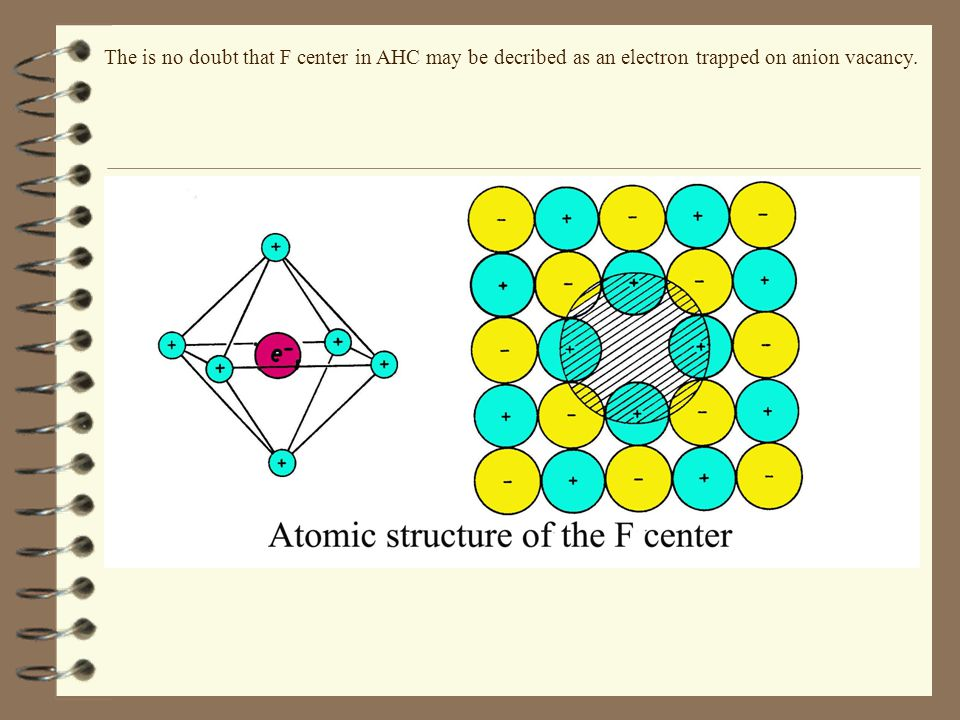 The is no doubt that F center in AHC may be decribed as an electron trapped on anion vacancy.