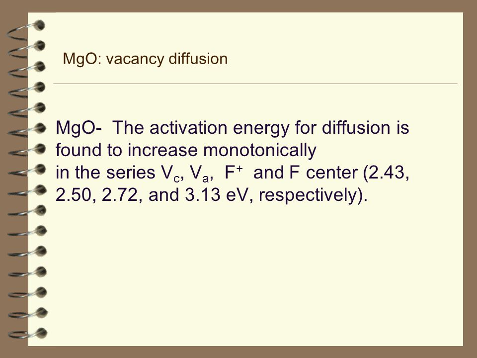 MgO: vacancy diffusion