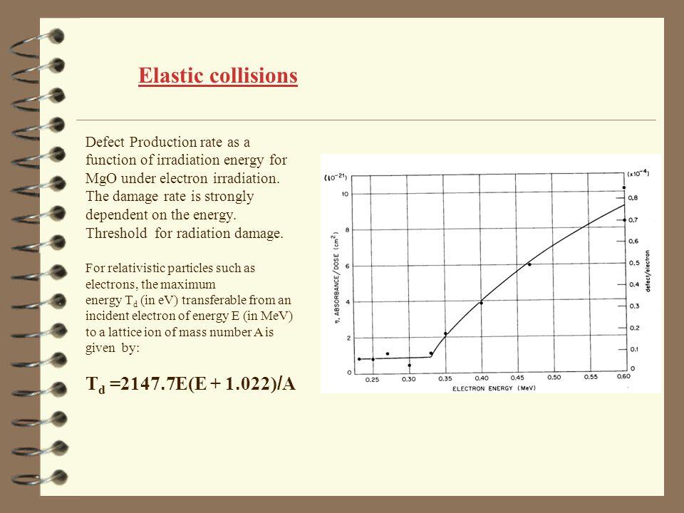 Elastic collisions Td =2147.7E(E + 1.022)/A
