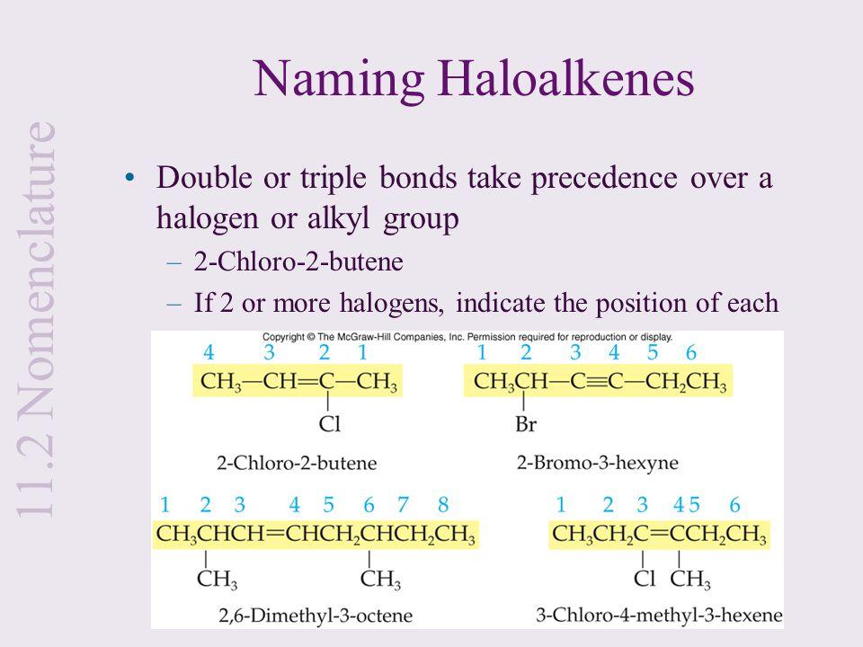 Naming Haloalkenes 11.2 Nomenclature
