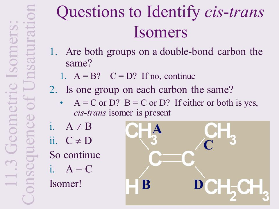 Questions to Identify cis-trans Isomers