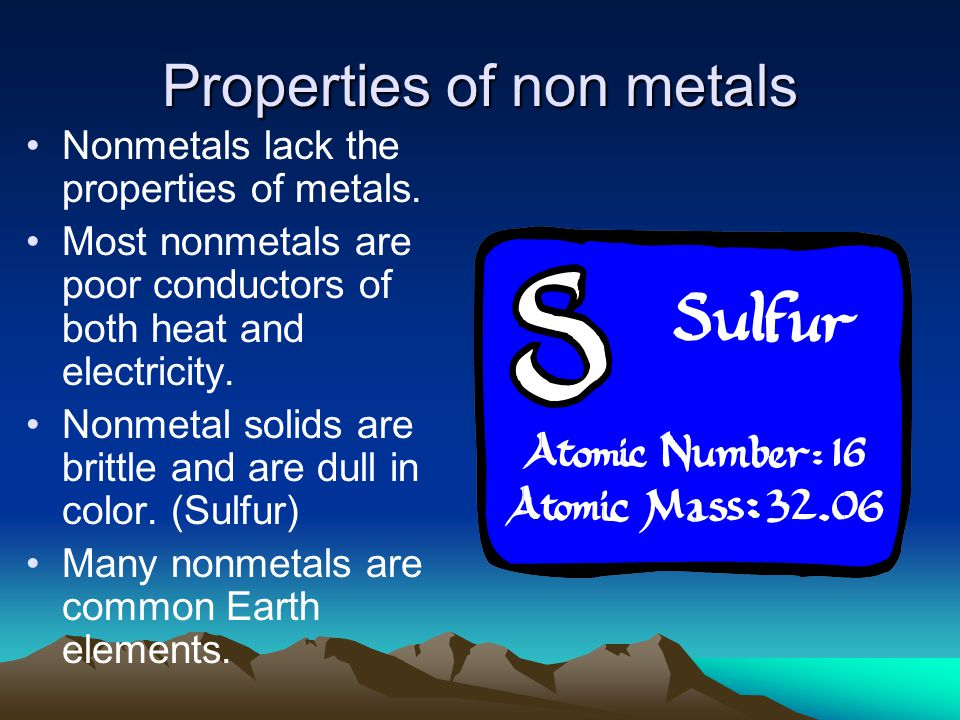 Properties of non metals