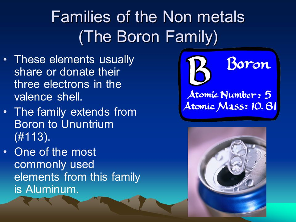 Families of the Non metals (The Boron Family)
