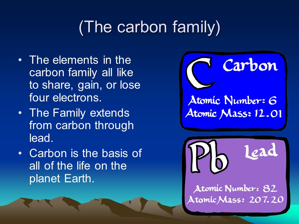 (The carbon family) The elements in the carbon family all like to share, gain, or lose four electrons.