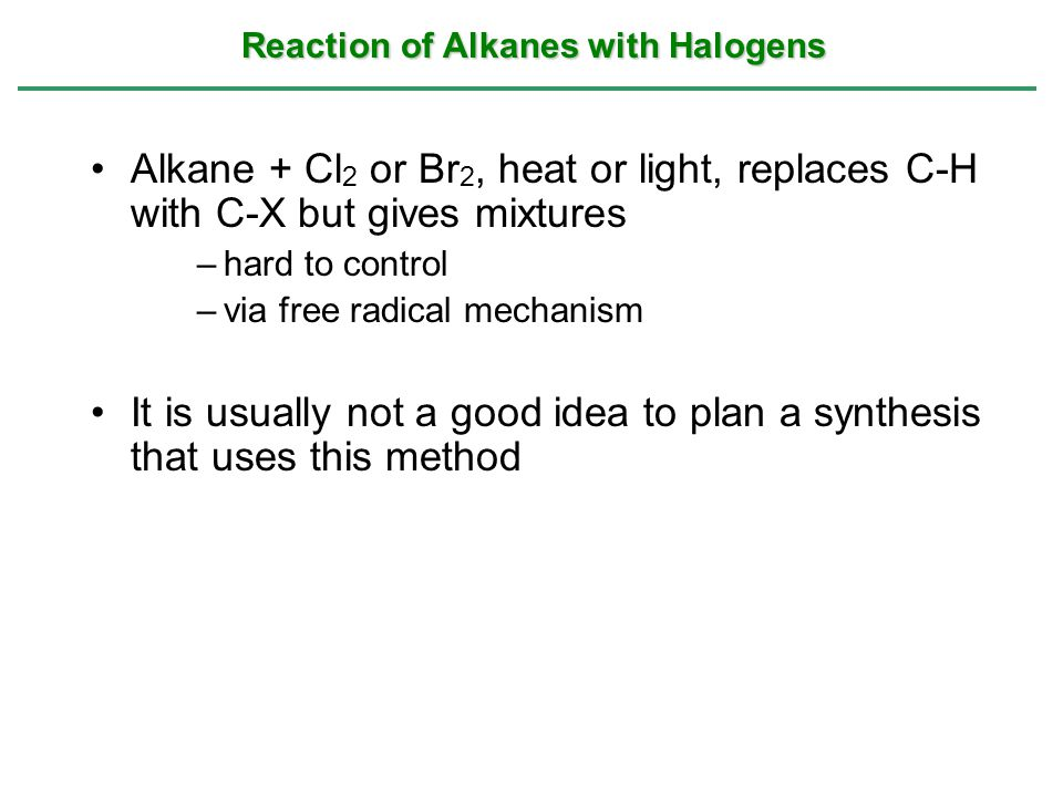 Reaction of Alkanes with Halogens